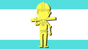 builder graphic in yellow and teal