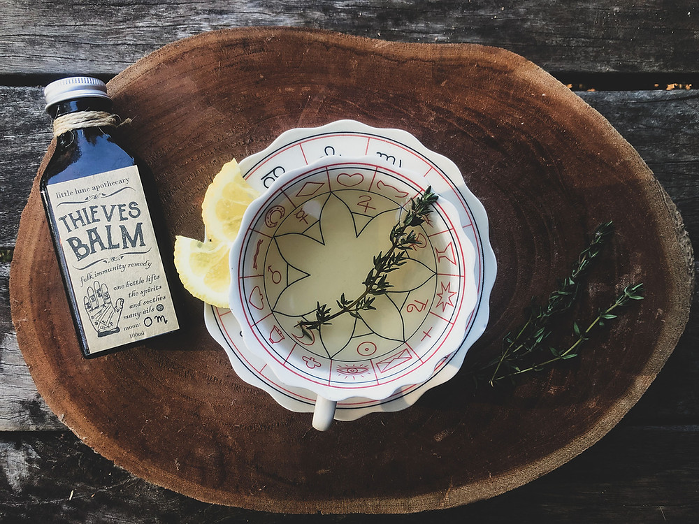 thyme tea and Thieves balm for immunity against colds and flu