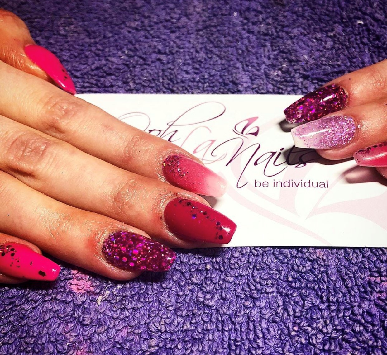 Pink sculpted acrylic nails