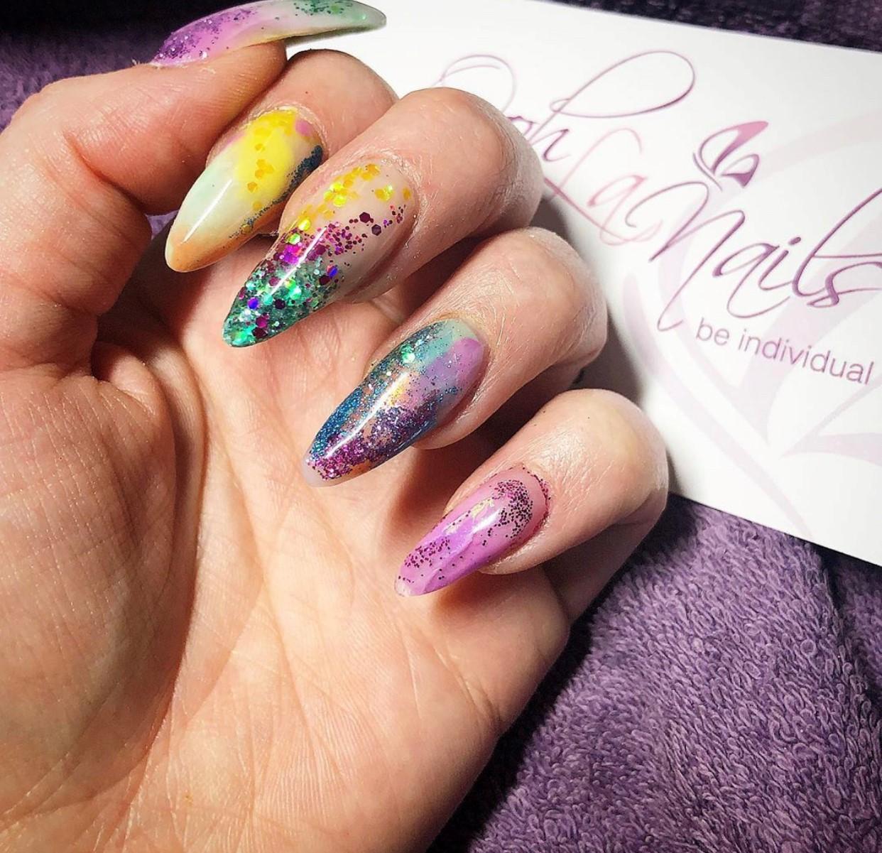multi coloured sculpted acrylic nails