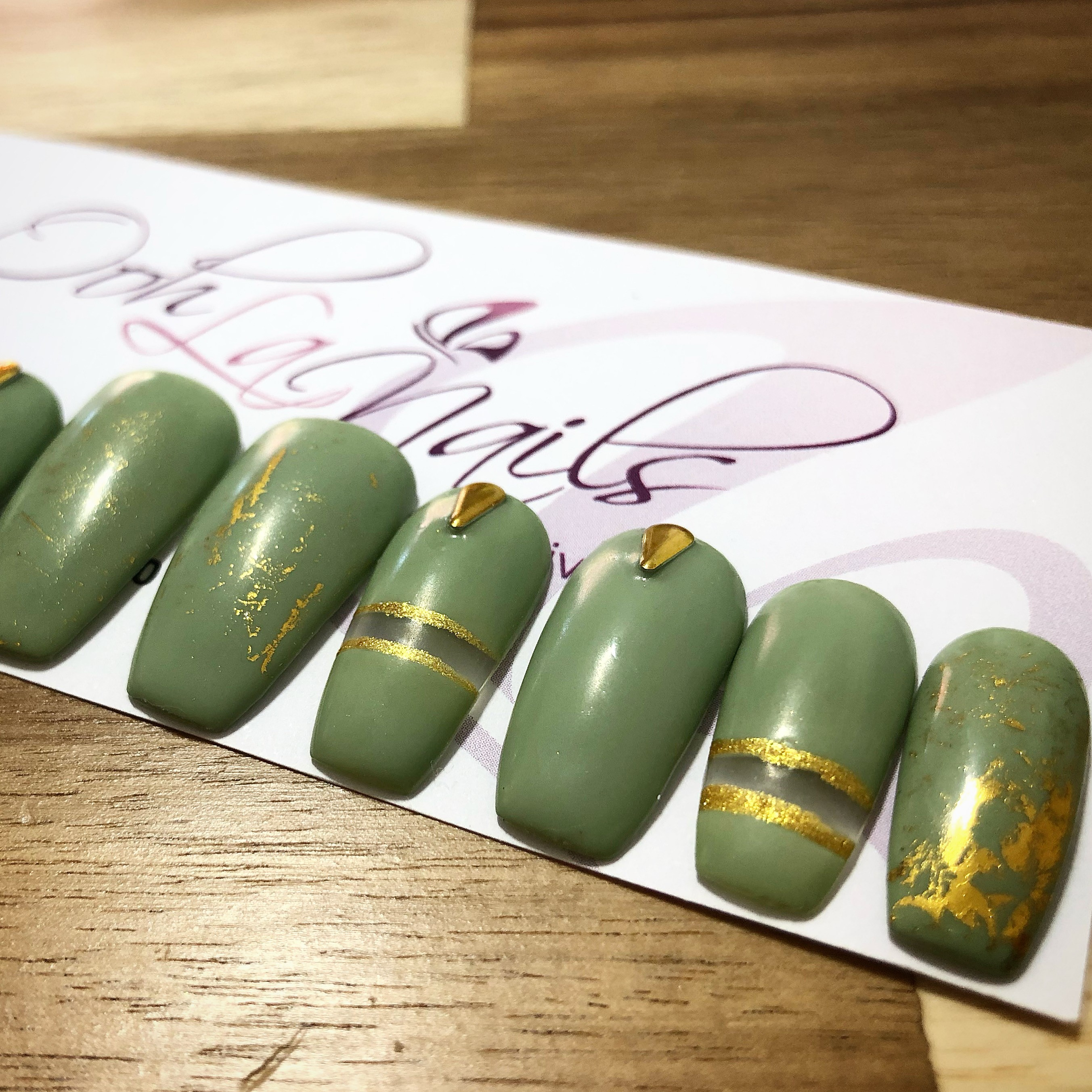khaki press on nails