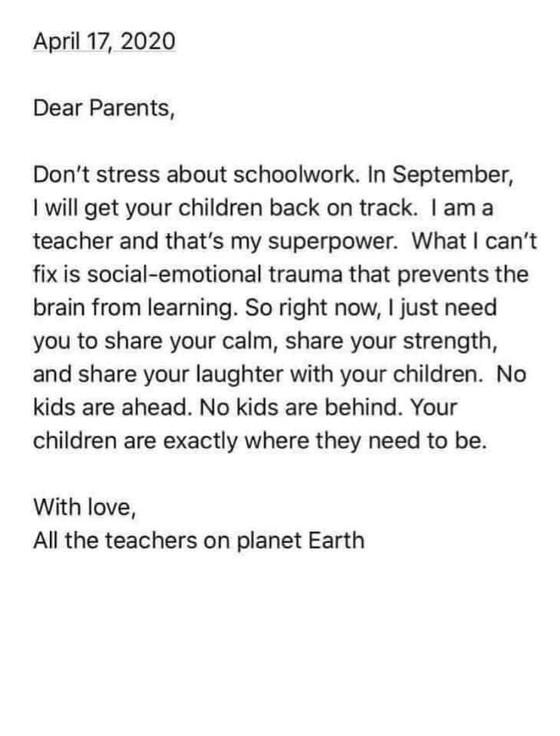 親御様へ、地球上のすべての教師より