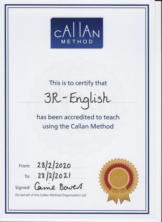 今年もカランメソッド正式認定校の証書を受け取りました