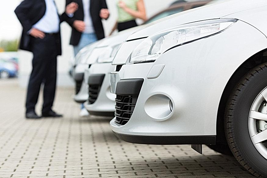 White car in showroom