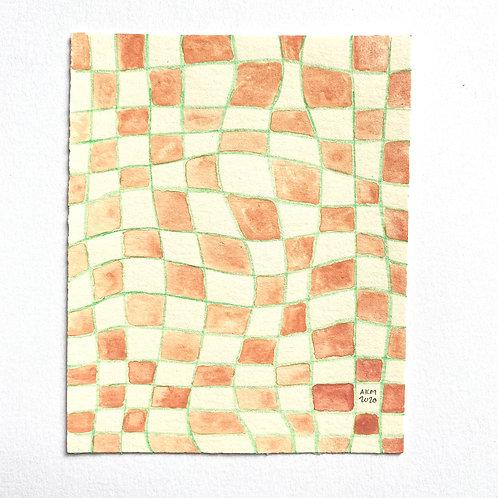 """""""Picnic Blanket 3""""  4x5 Gouache Paint + Colored Pencil"""