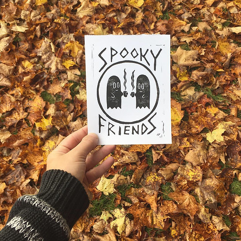 Spooky Friends Block Print