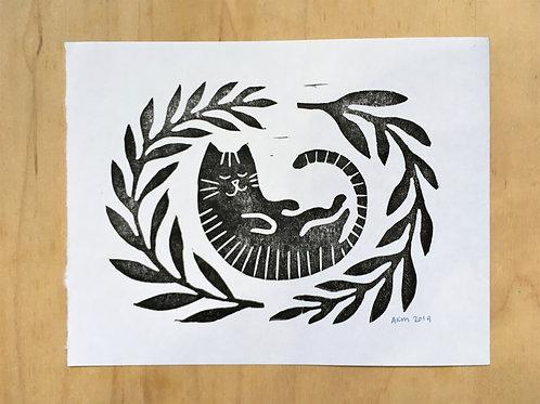 Cozy Cat Block Print