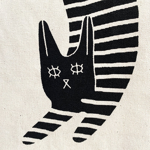 Hannah Hermes - Canvas Tote Bag - Stripey Cat