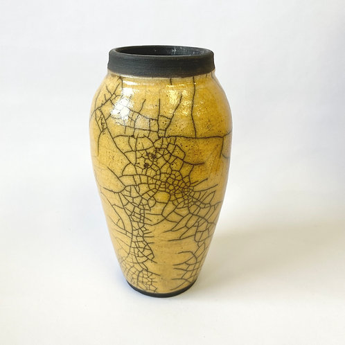 Nancy Meader - Raku Vase - Mustard Yellow