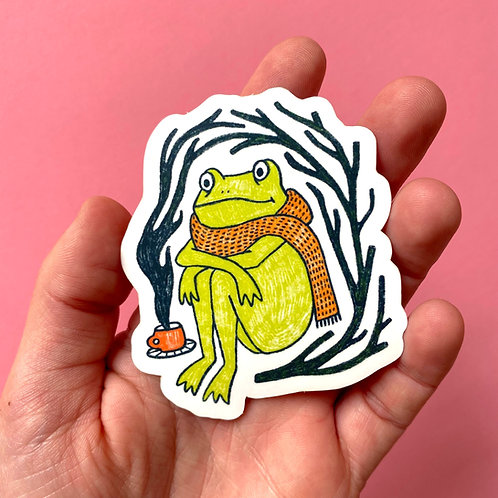 Scarf Frog Sticker