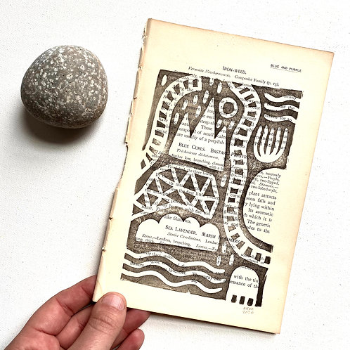 """""""Iron-Weed"""" Block Print on Antique Page"""