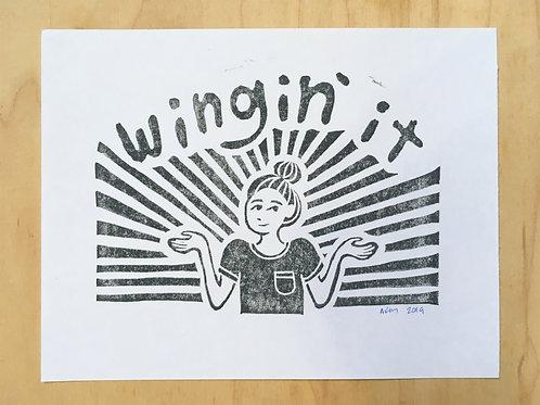 Wingin' It Block Print