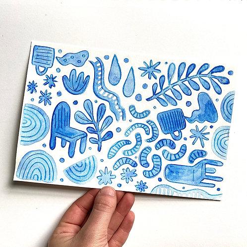 """""""Blue Shape Party 2""""  6x9 Gouache Paint + Colored Pencil"""