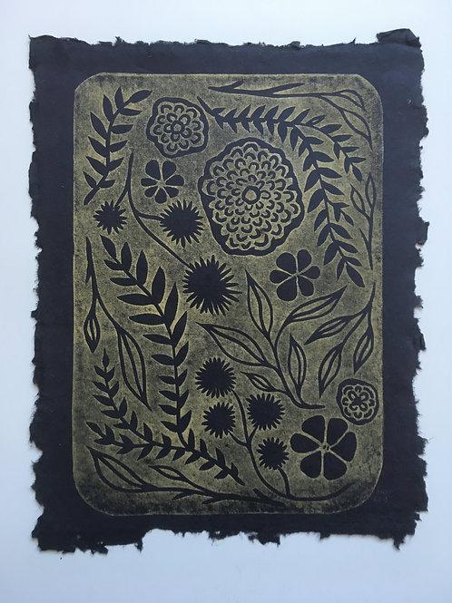 Wild Garden Block Print - Black/Gold