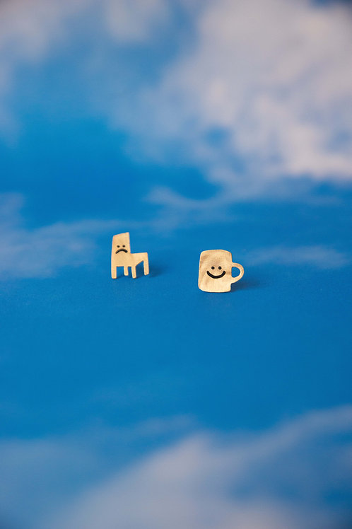 Sad Chair/Happy Mug Stud Earrings