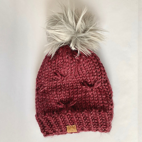 Brookes Smith Knitting - Red Hat with Pom Pom