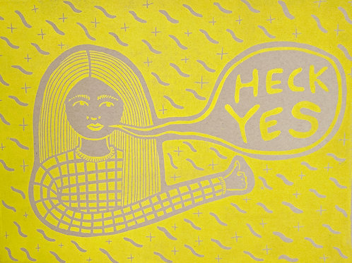 Block Print - Heck Yes - Yellow/Tan