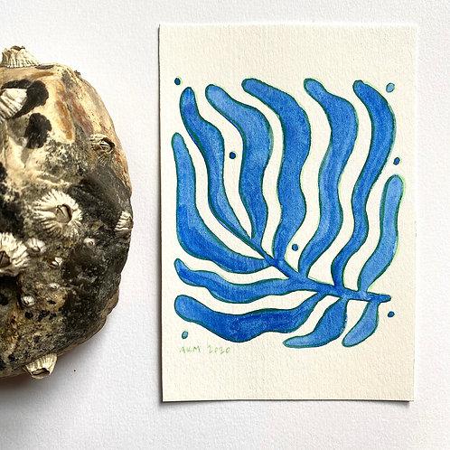 """""""Blue Branch 2""""  4x6 Gouache Paint + Colored Pencil"""