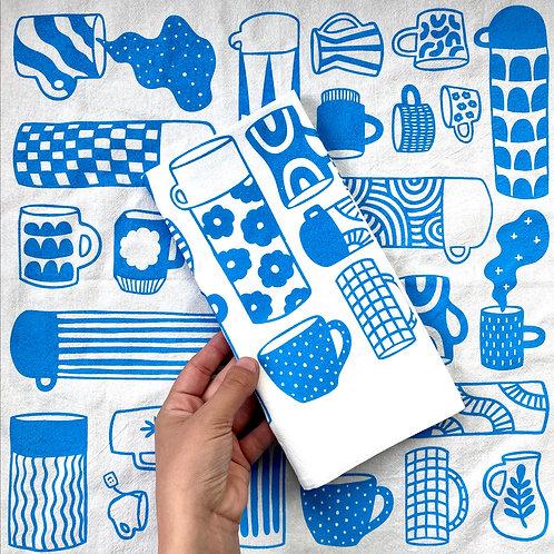 Tea Towel - Mug Collection in Blue
