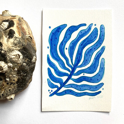 """""""Blue Branch 1""""  4x6 Gouache Paint + Colored Pencil"""