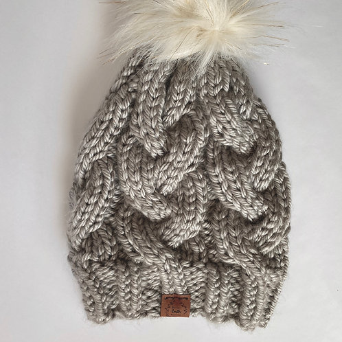 Brookes Smith Knitting - Gray Hat with Pom Pom