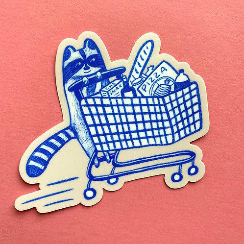 Shopping Snaccoon Sticker