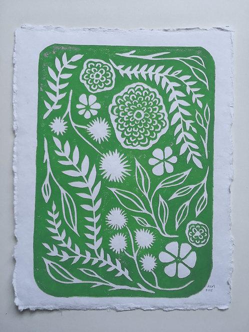 Wild Garden Block Print - White/Green