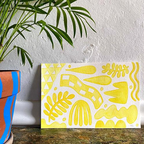 """""""Yellow Shape Party""""  6x9 Gouache Paint + Colored Pencil"""