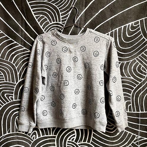 Gray/Black Happy/Sad Face Sweatshirt (Small/X Small))