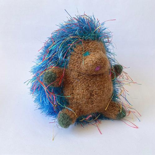 Linda Herschenfeld - Knit/Stuffed Hedgehog - Brown/Blue