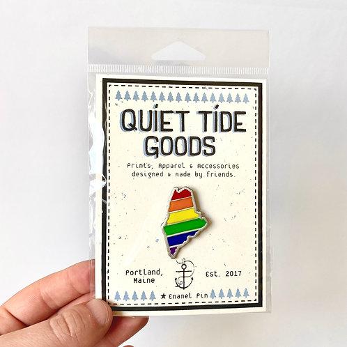 Quiet Tide Goods - Enamel Pin - Rainbow Maine