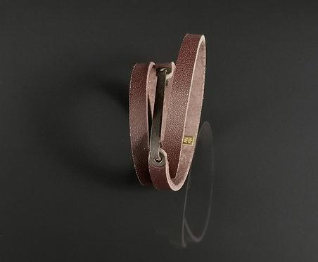 """Bracelet cuir marron bordeau et laiton oxydé """"Chic Street"""""""