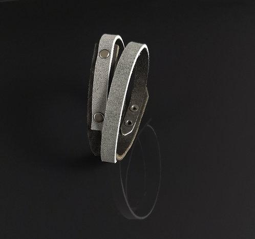 """bracelet cuir noir/gris double """"Urban Art"""""""