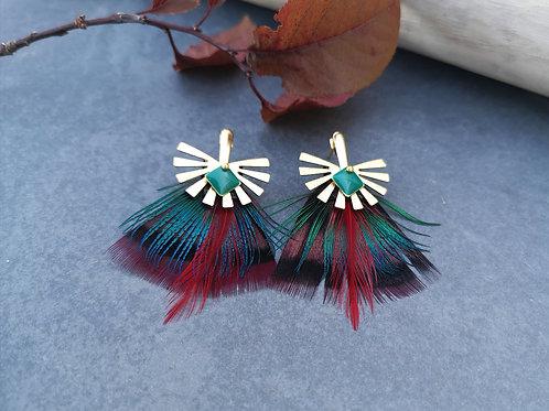 """Boucles d'oreilles """"plumes"""" paon/faisan/coq"""