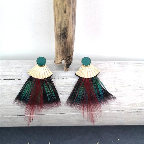 """Boucles d'oreilles """"plumes"""" de paon et faisan"""