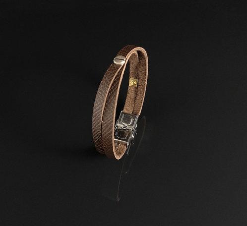 "Bracelet cuir marron taupe ""Urban simple"""