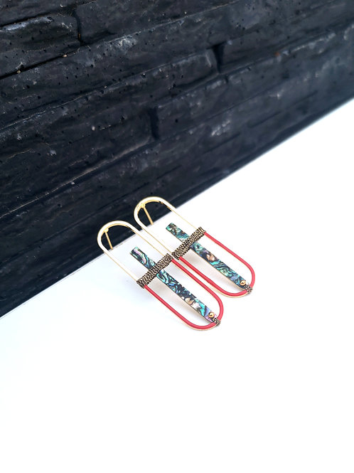 """boucles d'oreilles ovales rouges """"ghales"""" ANGHA"""