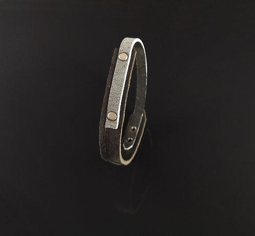 "bracelet cuir noir/gris simple ""Urban Art"""