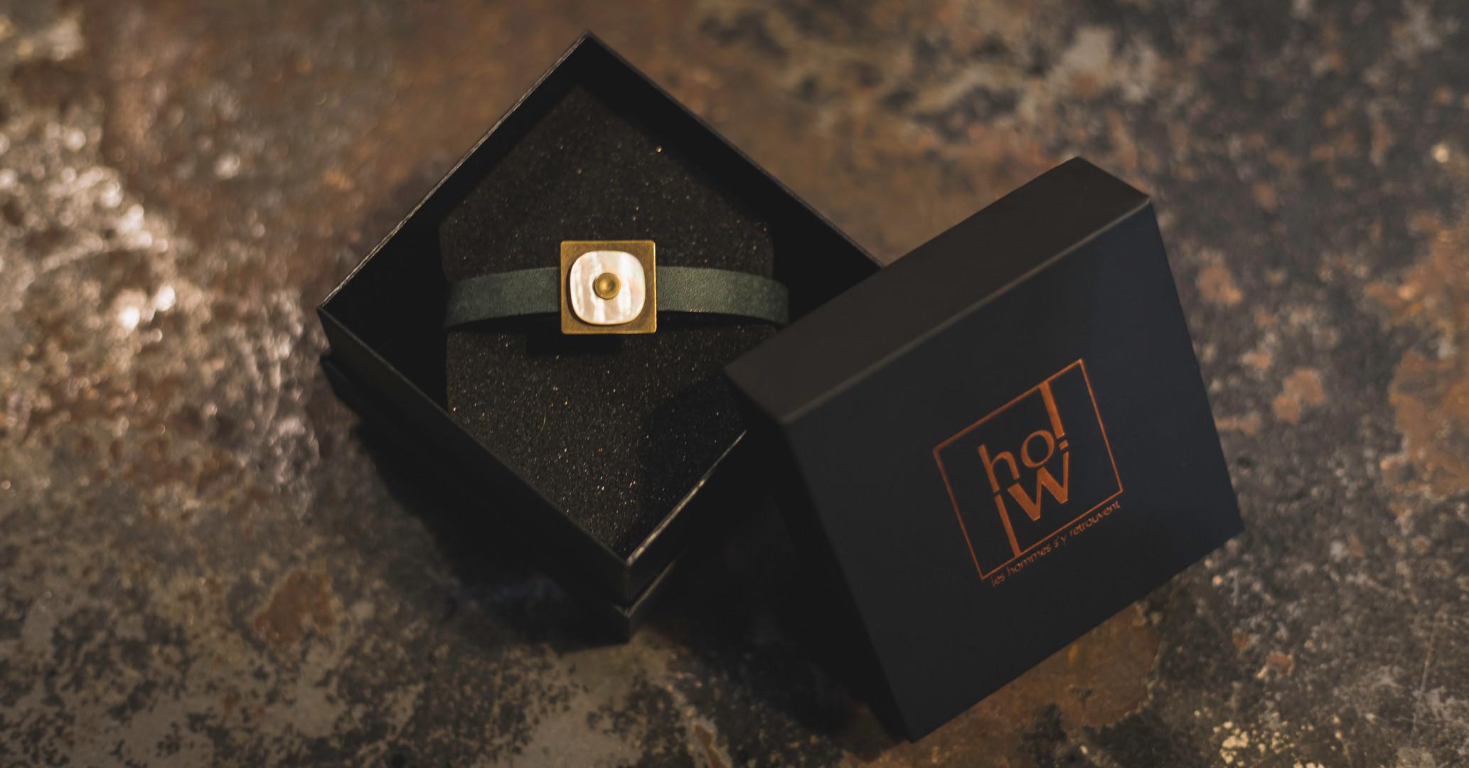"""bracelet laiton nacre cuir """"Vintage"""""""
