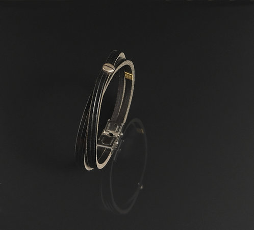 "Bracelet cuir noir brillant ""Urban simple"""