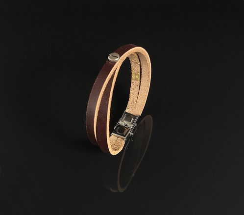"Bracelet cuir marron bordeau ""Urban simple"""