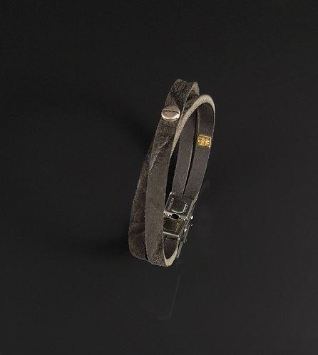 "Bracelet cuir noir mat ""Urban simple"""