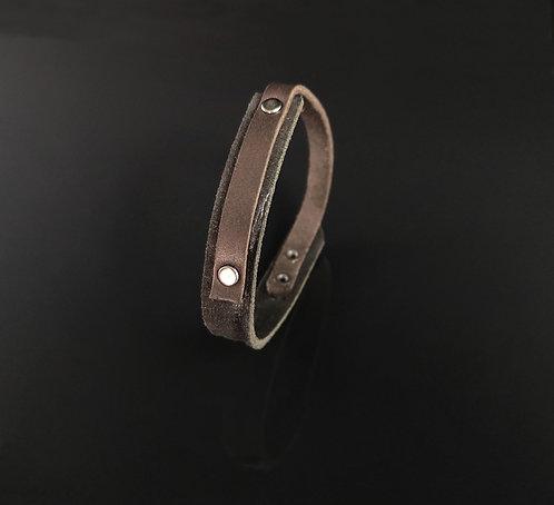 "bracelet cuir noir/marron simple ""Urban Art"""
