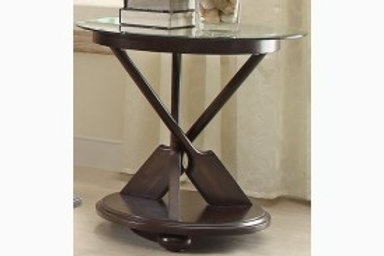 Hatchett Lake Collection Round End Table with Glass Top by Homelegance
