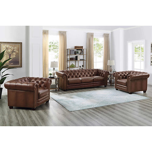 Kennedy 3 pc Top Grain Leather Sofa Set