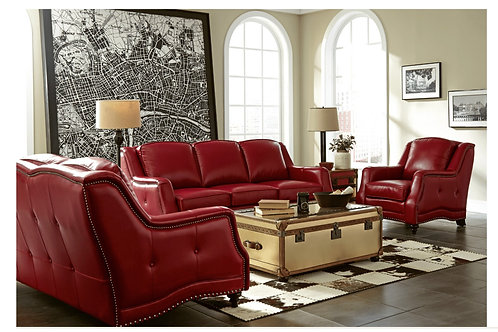 Victoria Collection 3 pc Top Grain Leather Sofa Set