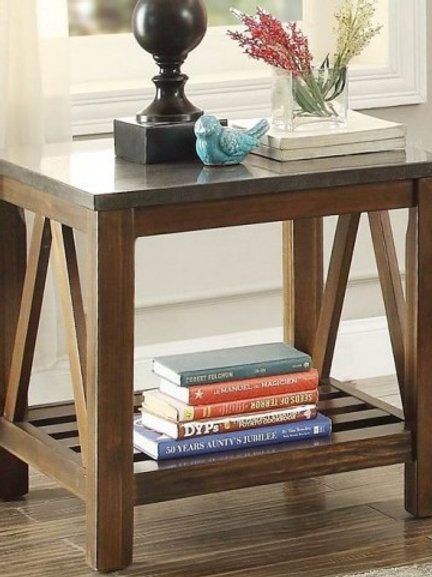 Ashby Collection End Table w/ Bluestone Marble Top by Homelegance