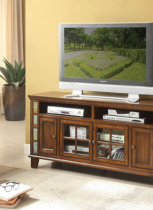 "Chehalis Collection 60"" TV Stand with Slate Décor by Homelegance"