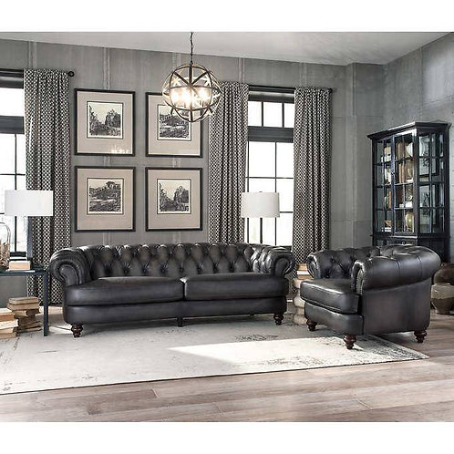Nottingham 2 pc Top Grain Leather Sofa and Chair
