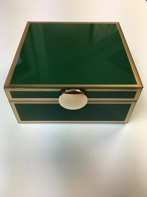 "Green Wood and Glass 7"" x 7"" Jewelry Box"